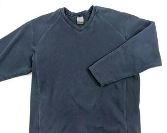 3afdc4d0 Vintage 90s Nike Embroidered V Neck Sweatshirt Navy Blue Gray Tag M
