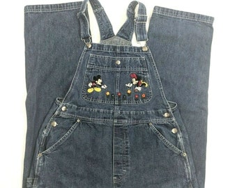 cda6c476fb5 Vintage 90s Disney Women s Bib Overalls Embroidered Mickey   Minnie Mouse  Size M