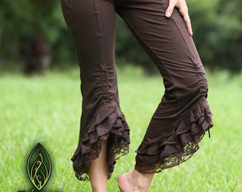 Fairy Capri Leggings, Frilly Lace Leggings, Ruffle Steampunk, Pixie Pants, Yoga, Festival Clothing, Gothic, Cosplay, Elven, Faerie, Rave