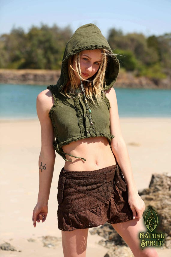 Clothing Cotton Vest Women Tribal Man Clothing Boho Vest Gypsy Hood Elven Top Clothing Burning Raw Goa Vest Pixie Festival Fairy SqWn7drBq