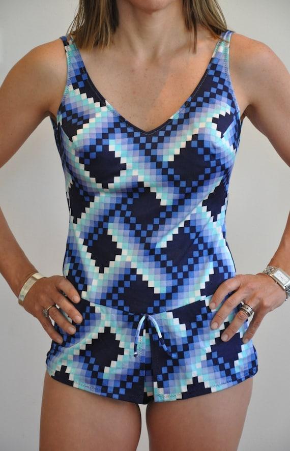 Mint condition 1960's geometric swimsuit