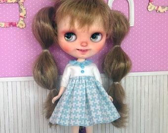 Blythe dress, blue blythe dress, blythe print dress, blythe white dress, blythe clothes, blythe outfit