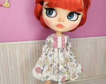 Blythe dress, Blythe clothing, Blythe outfit, Vintage Blythe dress, Blythe flower dress, Blythe White dress, 1/6 30 cm
