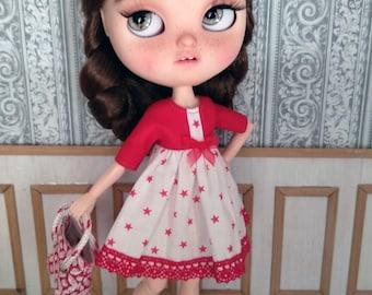 Blythe dress, blythe star dress, blythe print dress, blythe red dress, blythe clothes, blythe outfit
