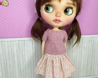 Blythe Dress, Blythe Clothes, Blythe Outfit, Blythe Skirt, Blythe Sweater, Blythe Flower Dress, Blythe Outfit, 1/6 30 cm