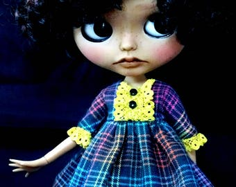Blythe Dress, Blythe Clothing, blythe Outfit, Blythe Vintage Dress, blythe Scottish Dress, Blythe Black Dress, 1/6 30 cm