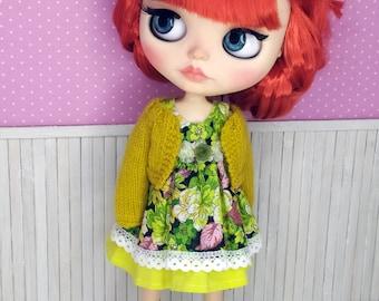 Blythe Dress, Blythe Clothes, Blythe Outfit, Vintage Blythe Dress, Blythe Flower Dress, Blythe Jacket, 1/6 30 cm