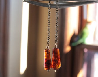 Honey // Gorgeous Amber Dangling Earrings // Unique Handmade Amber Resin Earrings with Brass Chain