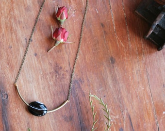 Uncover // Dark Agate U Shaped Necklace // Unique Handmade Crystal Black and Brown Necklace with Brass Chain