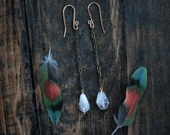 Purity // Snowy Quartz Dangling Earrings // Unique Handmade Long Clear Crystal Earrings