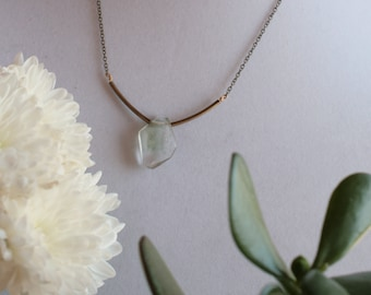 Earth Angel // Lodolite Garden Quartz Stunning Crystal U Shaped Necklace // Unique Handmade Crystal Necklace with Brass Chain