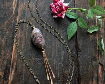 Garden of Earthly Delights // Lodolite Garden Quartz with Brass Fringe Accents // Handmade Long Crystal Necklace with Clear Quartz + Amber
