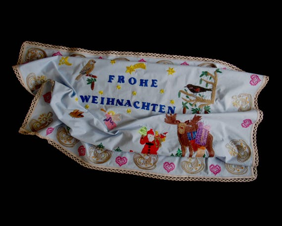 Vintage hand-embroidered Christmas linen - blue Christmas linen with German