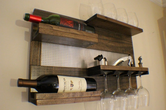 Sophisticated Ash Stained Wall Mounted Wine Rack With Shelves Etsy
