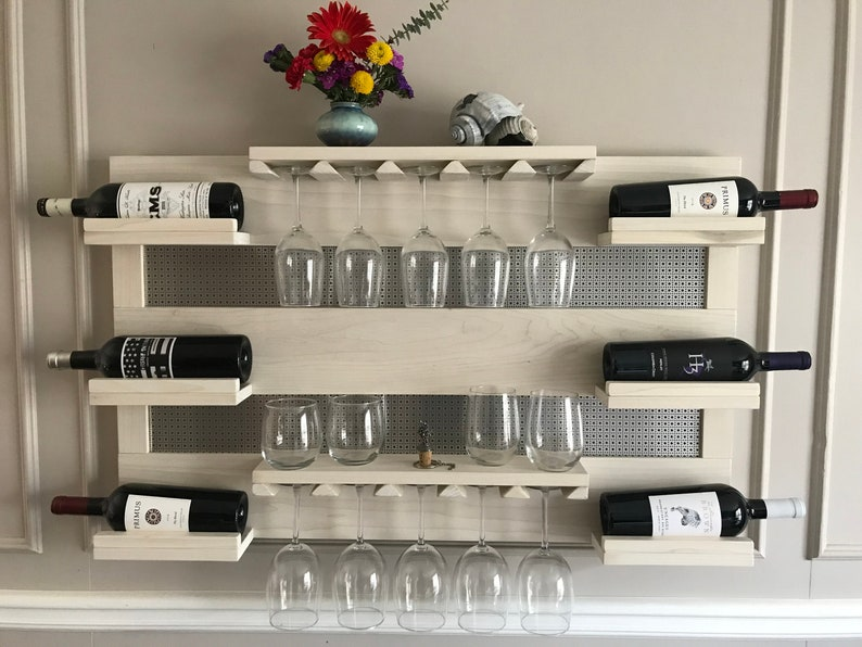 Stunning Rustic Pickled Stained Wall Mounted 4 Bottle, 10 Glass Wine Rack  with Shelves and Decorative Metal Mesh Wine/Liquor Shelf/Cabinet