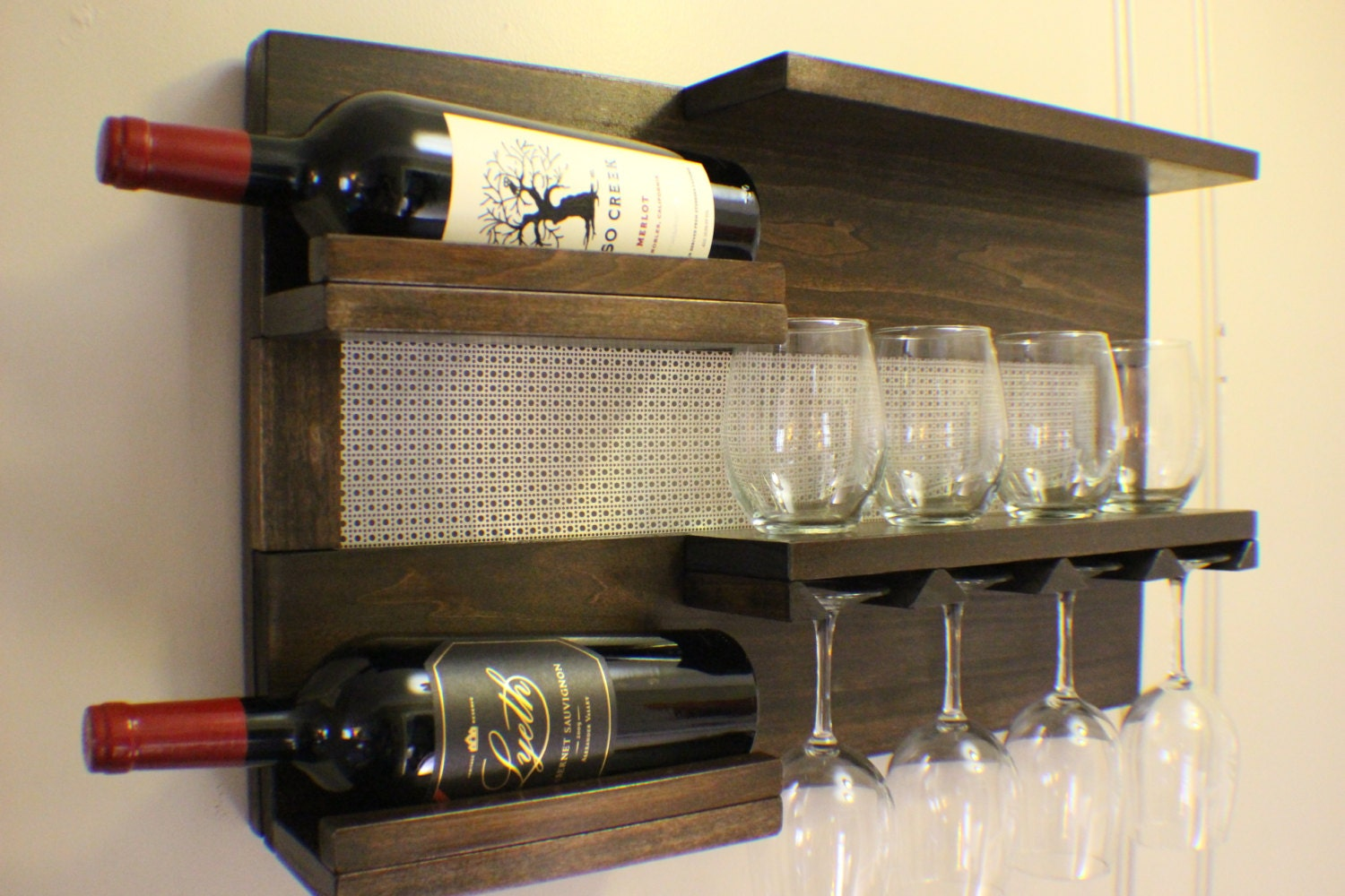 Kona And Chrome Wall Mounted Wine Rack With Shelves And Etsy