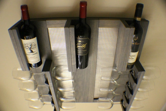 Stained Wall Mounted Wine Rack Wine And Liquor Shelf Modern Etsy