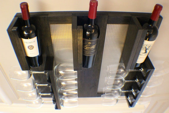Modern Ebony And Chrome Stained Wall Mounted Wine Rack With Etsy