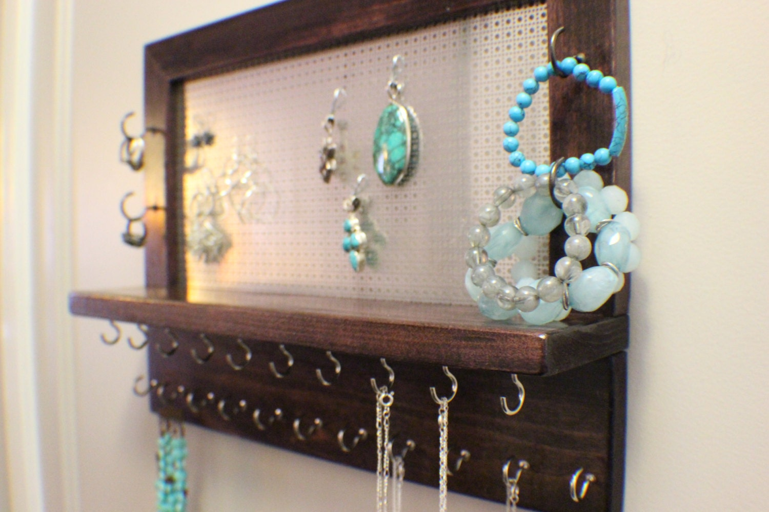 Stained Wall Mounted Jewelry Organizer Wall Organizer   Etsy