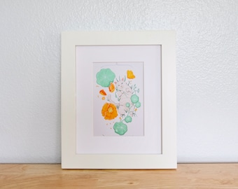 Giclee Print- Nasturtium and Poppies 5''x7''