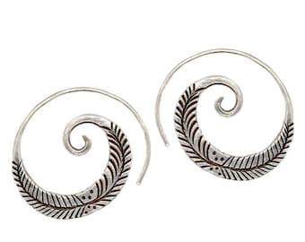 Sterling Silver Boho Tribal Spiral Hoop Earrings, Feather Branch Engraved, Handmade Gypsy Hippie Engraved swirl, Women or Men coil earrings