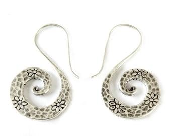 Handmade Sterling Silver Spiral Dangle Earrings, Tribal Hippie Hammered Floral Flat Spiral Earrings, Silver Swirl earrings, Gift for her