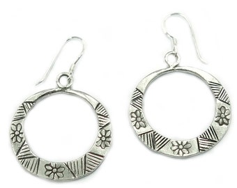 6e9f78ef3 Sterling Silver Hoop Earrings, Handmade Tribal Boho Hippie Flat Thick  Circles on Dangle with Geometric and floral engraving, Gift for Her