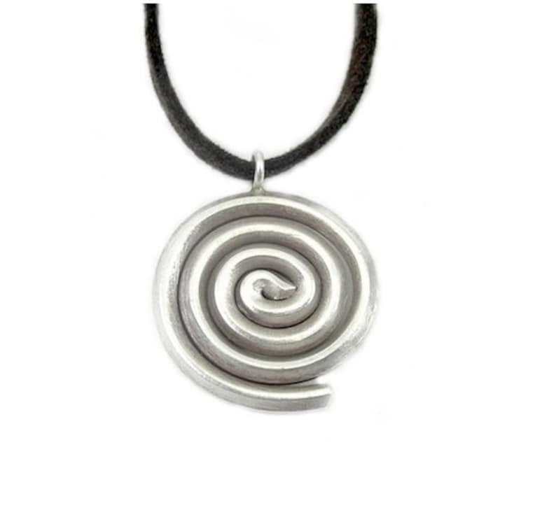 b8f772a9f189 Handmade Tribal Sterling Silver Spiral Pendant Necklace Thick