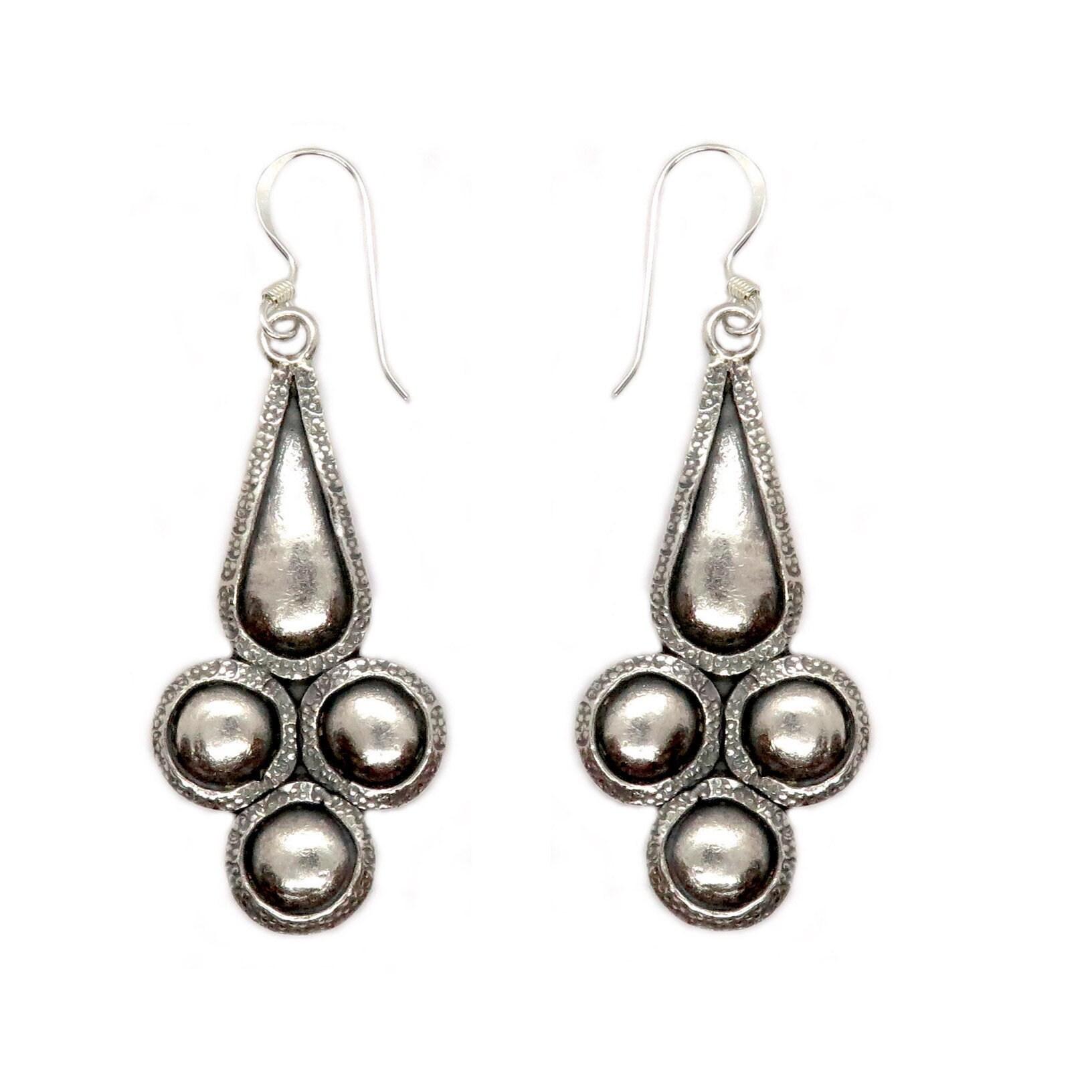 Silver Jewelry Handmade Birthday Gift for Women Jewelry Ethnic Boho Dangle Earrings Sterling Silver Jewelry Pewter Earrings Bohemian