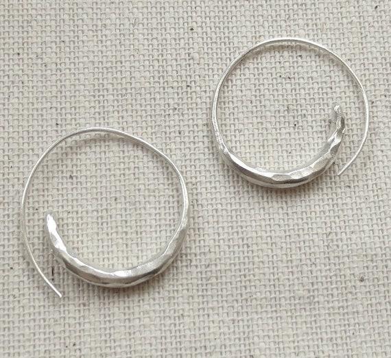Sterling Silver Handmade Spiral Hoop Earring Rustic Tribal Ethnic Swirl fake Gauges Earrings for Women or Men