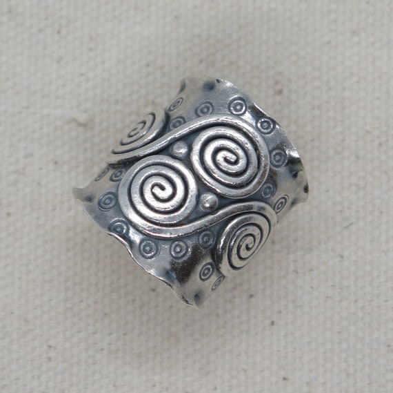 Handmade Sterling Silver Rustic Boho Ethnic adjustable Wide Band Cuff Ring with Spirals and Oxidized Tribal motifs Engravings also as Thumb ring