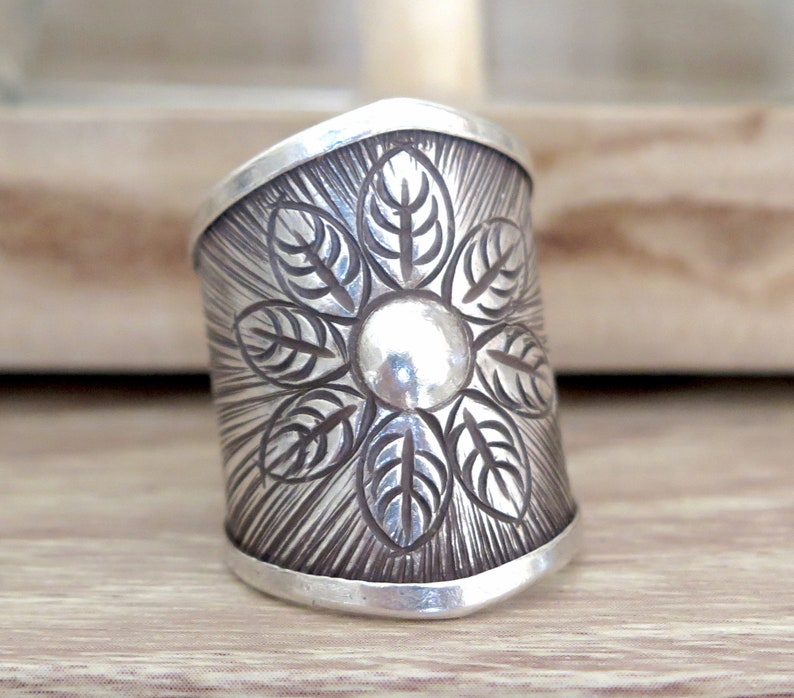 adjustable Sterling Silver Boho Gypsy Flower Statement Ring Handmade Wide Band Hippie Tribal Rustic Long cuff Sun Ring also as Thumb ring