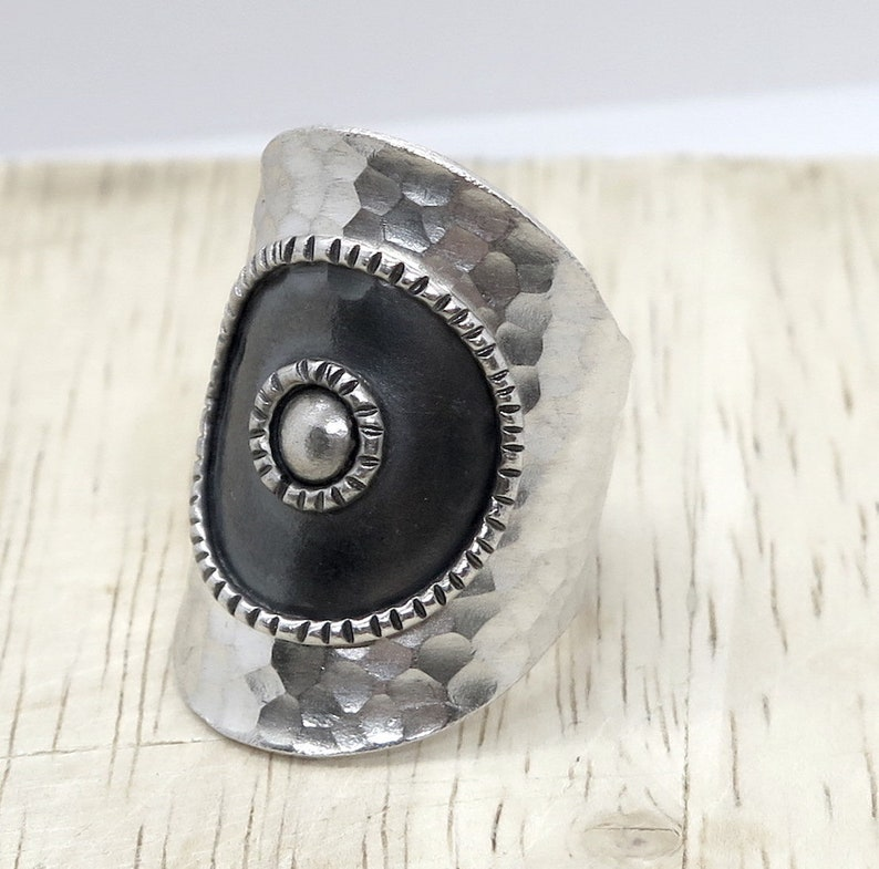 Handmade Hammered Silver Wide Wrap Band Ring Dark Black center Sterling Silver Long Boho Statement Ring also as Thumb ring Adjustable