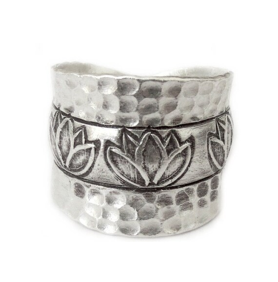 Handmade sterling silver lotus band ring lotus flower zen etsy image 0 mightylinksfo