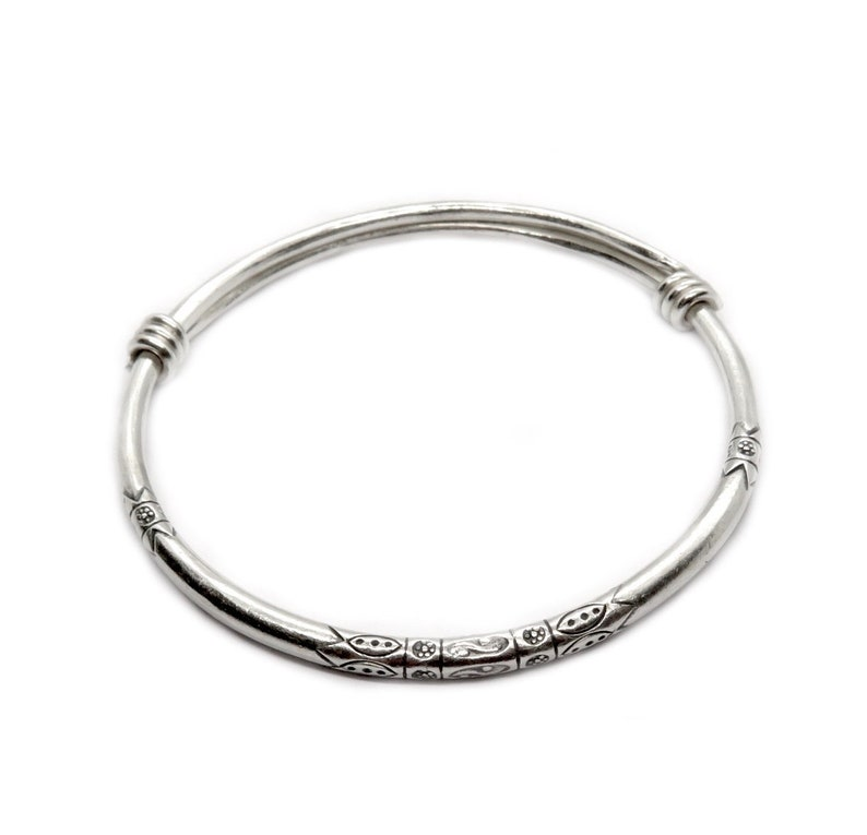 6114f7da806 Sterling Silver Thick Boho Bangle Bracelet Adjustable image 0 ...