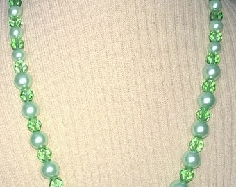 Mint Green Pearls with Green Crystals Necklace