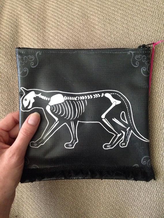 Black Cat Skeleton Bag ~ Cosmetic Bag, trinket bag