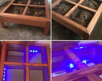 Terrarium Coffee Table Light Up Reptile Home Zen Garden ~ Solid Red Oak Wood Tank for Snakes, Tarantula, Spider, Scorpion, Sand Boa, Lizard