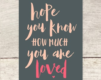 You Are Loved   Valentine's Day   Love note flat note card