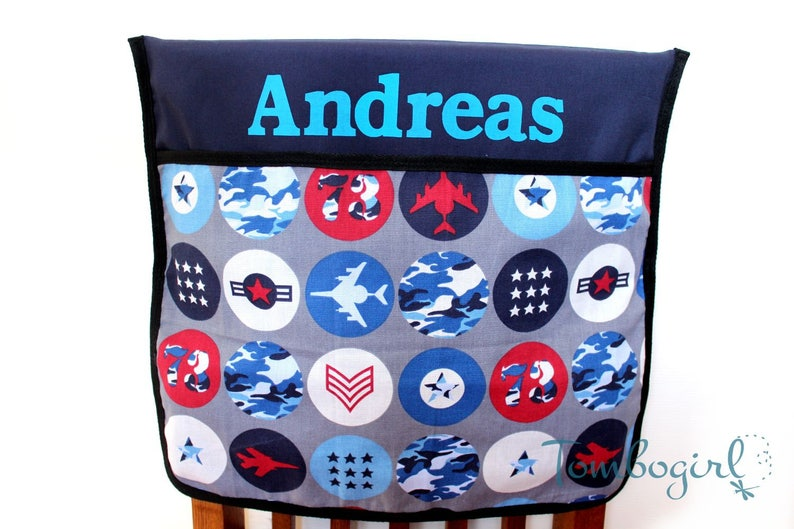Enjoyable Kids Chair Pocket Chair Bag Personalised Customised Name Australian Made Small Or Large Air Force Navy Blue Pabps2019 Chair Design Images Pabps2019Com