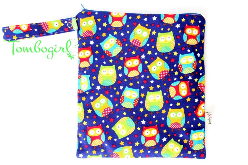 zip Wet Bag 10 x 11 or 10 x 7 inches size Australian made with snap open strap \u2013 Owl stars
