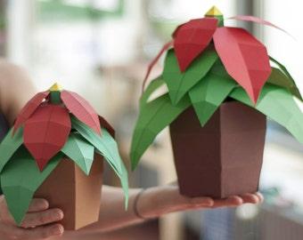 Pot flower diy papercraft kit instant download etsy christmas star diy papercraft kit mightylinksfo