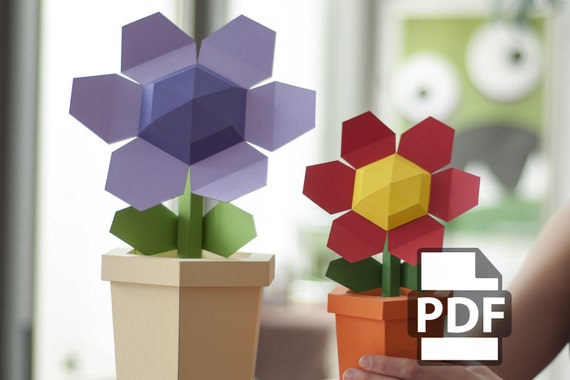 Pot flower diy papercraft kit instant download etsy image 0 mightylinksfo