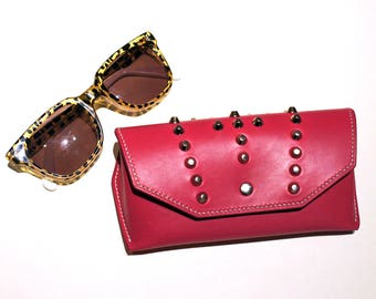 Studded Pink Leather Sunglasses Case | Hand Stitched Leather Glasses Case | Glasses Pouch | Leather Case | Glasses Protector
