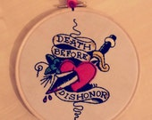 Handmade Stitched Wall Hanging of Sailor Jerry quot Death Before Dishonor quot Tattoo Flash Design Embroidery