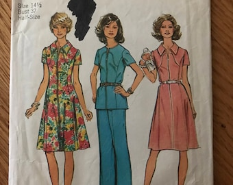 Vintage Retro Pattern - Pant Suit & Dress - 1974