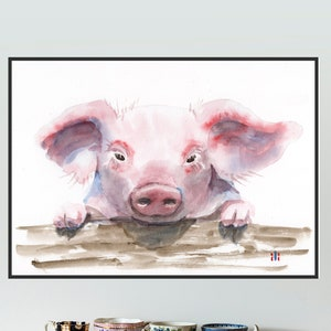 Watercolour Cute Cows Painting Limited Edition Print from Original by ili