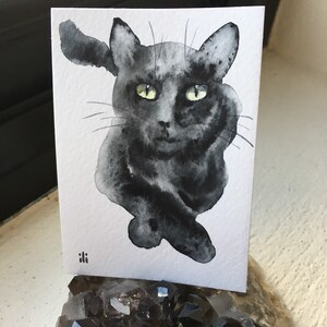 ACEO Miniature Original watercolour painting Black Cat Pet minimalist abstract drawing wildlife fine art animal lover gift
