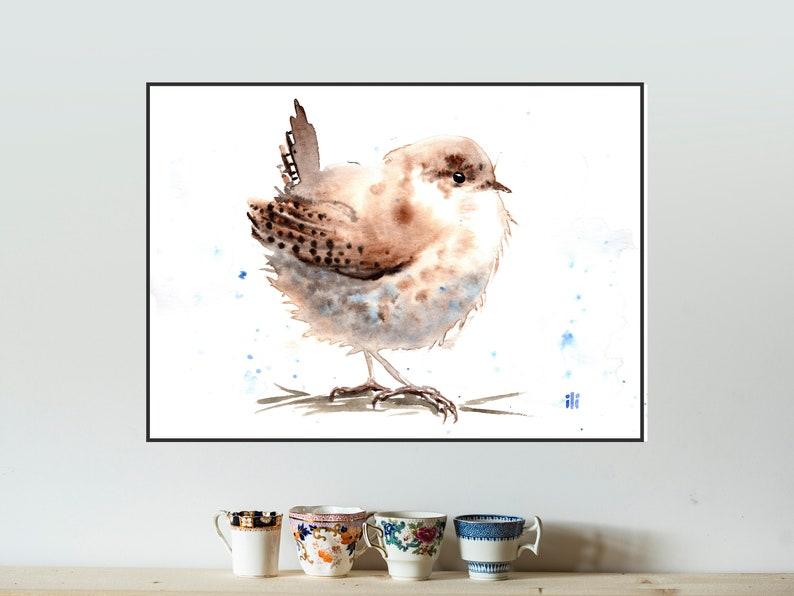 Watercolour Painting Print from original Cute Wren Bird Minimalist Art Illustration Drawing Wildlife