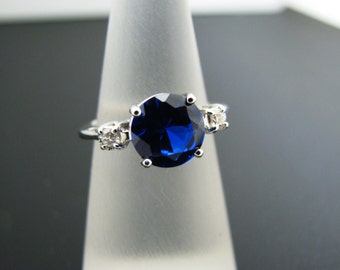 a353 Vintage Beautiful Dark Blue Stone Ring Band 14k White Gold with 2 Diamonds